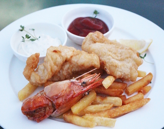 Fish & chips 280.-