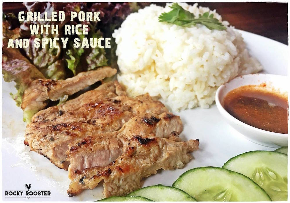 Grilled pork with rice and spicy sauce 95.-